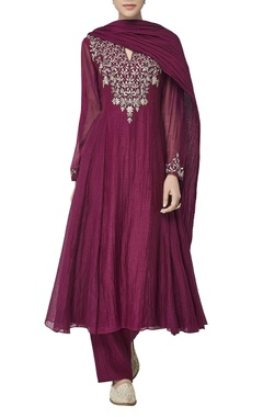 Wine chanderi silk kurta set