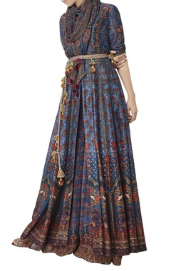 Blue printed georgette stole