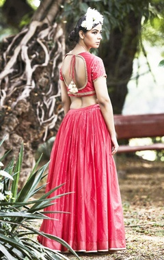 Pink lehenga in floral sequin embroidery
