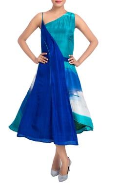 Blue hand painted midi dress