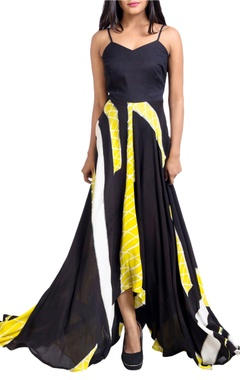 black & yellow asymmetric dress