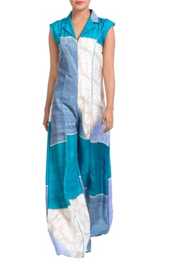 Blue paneled printed jumpsuit