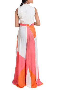 Multicolored hand painted flared jumpsuit