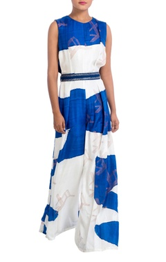 Blue & white hand painted jumpsuit