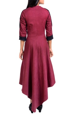 Maroon jacket style midi dress