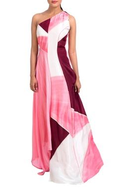 Multicolored one shoulder dress