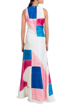 Multicolored hand painted paneled dress