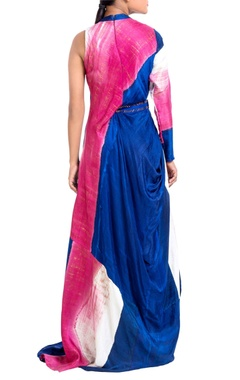 Blue & pink brush painted dress