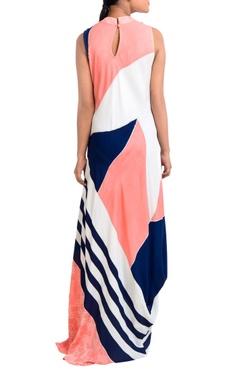 Multicolored turtleneck geometric dress