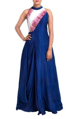 Multicolored draped cowl dress
