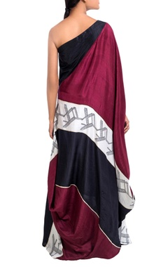 multicolored block printed gown