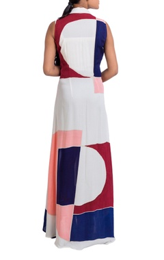multicolored overlap jacket dress