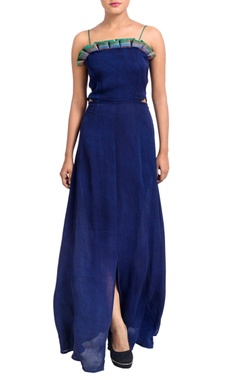 Blue ruffle neckline dress