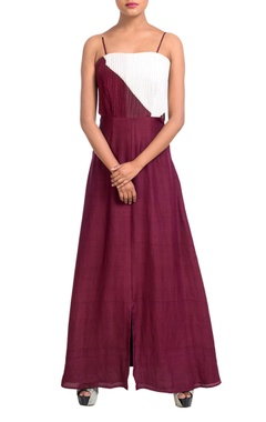 maroon & white dress with cutouts