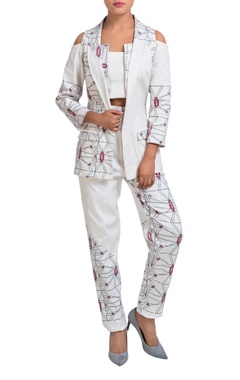 white printed jacket & pants