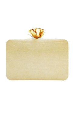 beige rose embroidered clutch