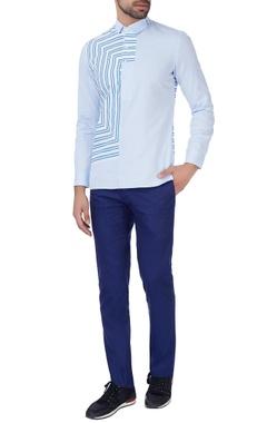 Blue striped panel shirt
