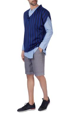 Blue & black pinstripe top