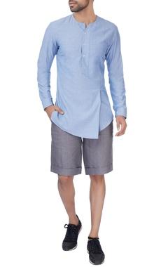 Grey linen formal shorts