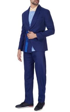 Royal blue jacket with one-sided belt