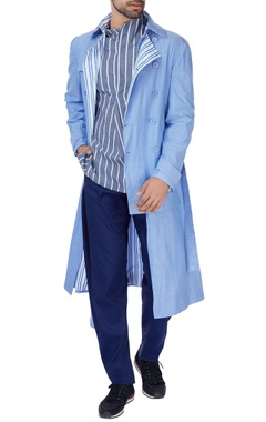 Blue cotton trench coat jacket