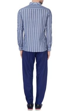 Blue & white pinstripe overlap shirt