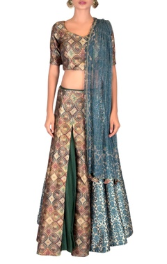 Multicolored printed lehenga & net dupatta