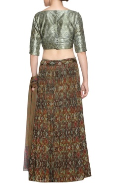 Brown printed lehenga & silk blouse