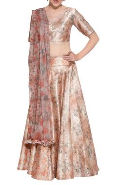 Peach floral lehenga & corset blouse
