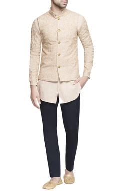 Beige embroidered nehru jacket with kurta