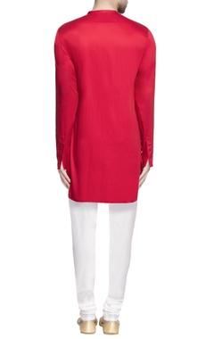 Red lapel style long kurta