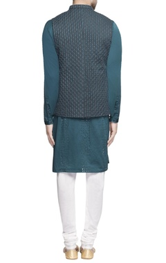 Teal green nehru jacket with kurta