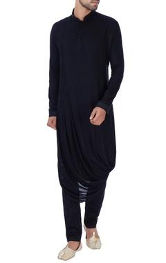 Black draped rayon kurta