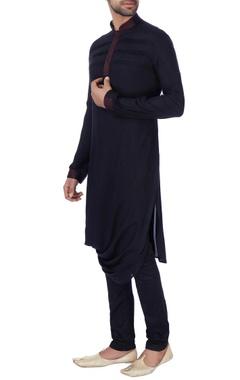 Black draped style rayon kurta