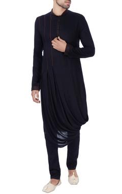 Black box pleated draped kurta
