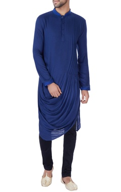 Blue cowl draped kurta