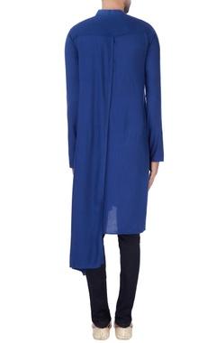 Blue one sided draped kurta