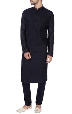 Black embroidered cotton silk kurta