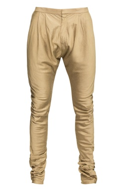 Beige cotton silk churidar pants