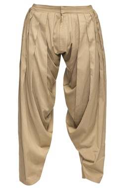 Beige cotton silk patiala pants