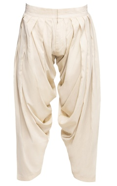 Ivory cotton silk patiala pants