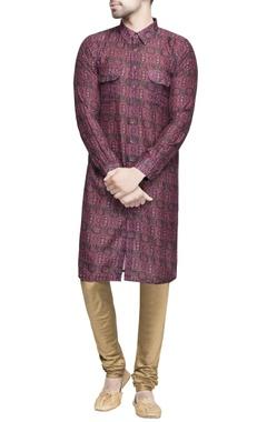 Maroon ikat printed silk kurta