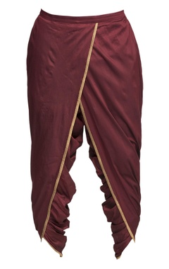 Maroon draped dhoti pants