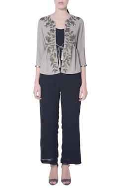 Grey tie-up blouse in sequin work