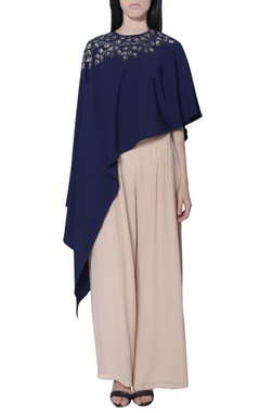 navy blue asymmetric embellished cape
