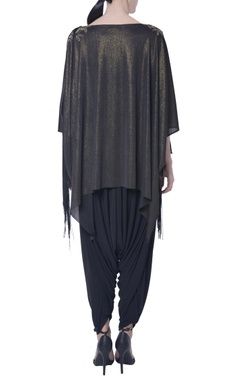 black shimmer tassel cape