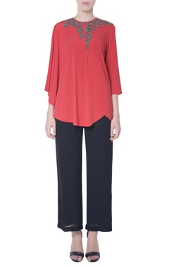 Coral red layered blouse
