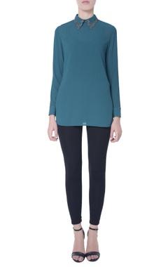 Teal blue bib collar blouse
