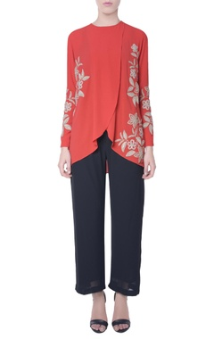 Coral red double layer top