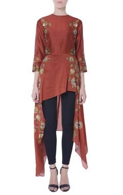 Rust brown asymmetric style blouse